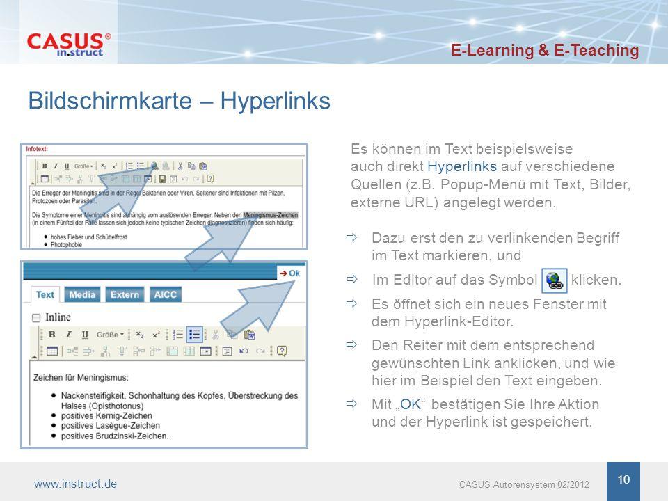 10 Bildschirmkarte – Hyperlinks Es können im Text beispielsweise auch direkt Hyperlinks auf verschiedene Quellen (z.B. Popup-Menü mit Text, Bilder, ex