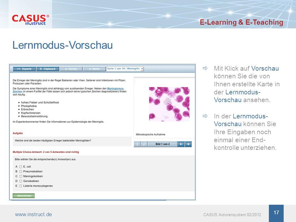 Lernmodus-Vorschau Mit Klick auf Vorschau können Sie die von Ihnen erstellte Karte in der Lernmodus- Vorschau ansehen.