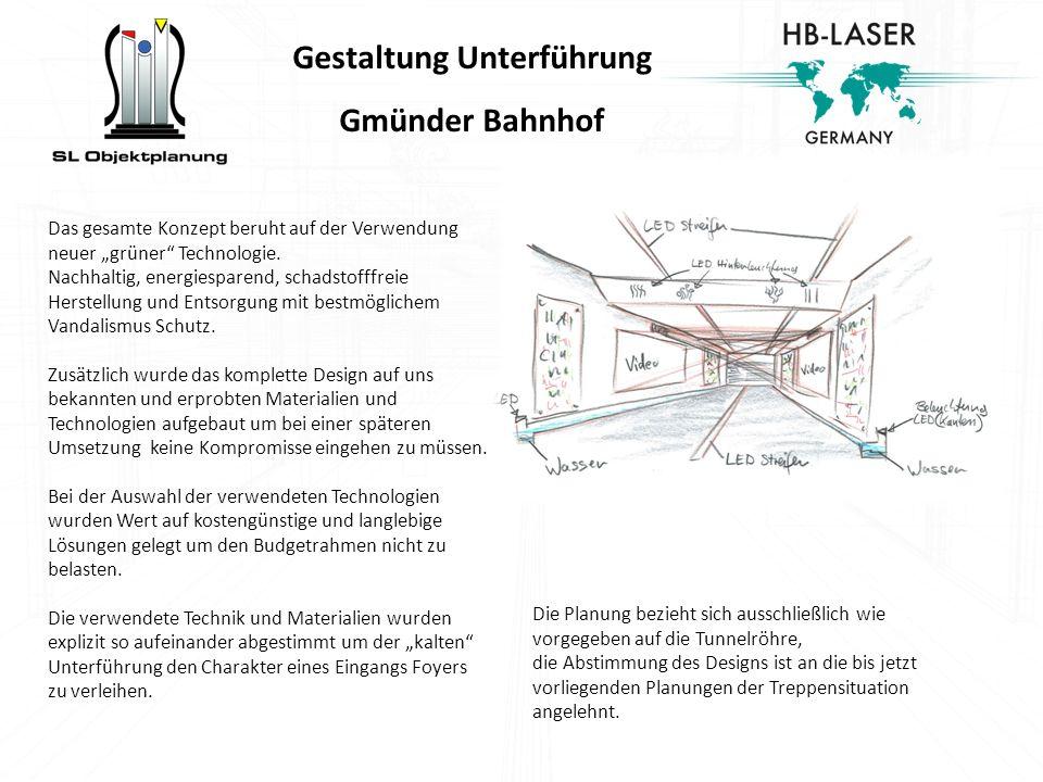 Gestaltung Unterführung Gmünder Bahnhof Das gesamte Konzept beruht auf der Verwendung neuer grüner Technologie. Nachhaltig, energiesparend, schadstoff