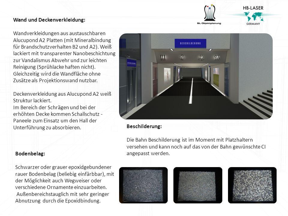 Wand und Deckenverkleidung: Wandverkleidungen aus austauschbaren Alucupond A2 Platten (mit Mineralbindung für Brandschutzverhalten B2 und A2). Weiß la