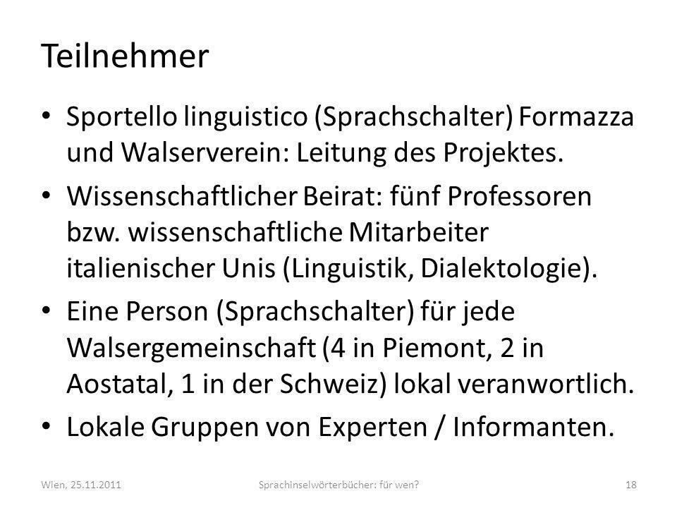 Teilnehmer Sportello linguistico (Sprachschalter) Formazza und Walserverein: Leitung des Projektes. Wissenschaftlicher Beirat: fünf Professoren bzw. w