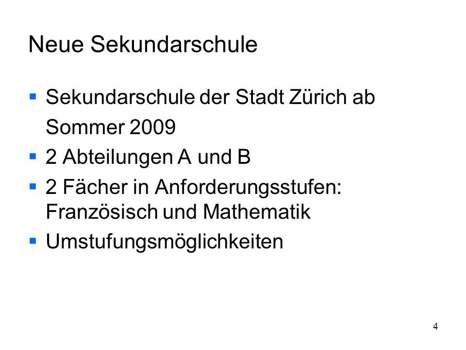 4 Neue Sekundarschule Sekundarschule der Stadt Zürich ab Sommer 2009 2 Abteilungen A und B 2 Fächer in Anforderungsstufen: Französisch und Mathematik