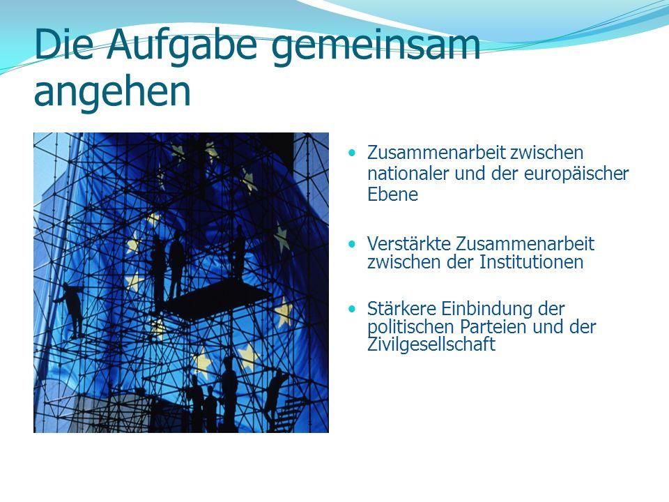 Die Aufgabe gemeinsam angehen Zusammenarbeit zwischen nationaler und der europäischer Ebene Verstärkte Zusammenarbeit zwischen der Institutionen Stärk