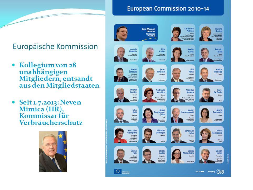Kollegium von 28 unabhängigen Mitgliedern, entsandt aus den Mitgliedstaaten Seit 1.7.2013: Neven Mimica (HR), Kommissar für Verbraucherschutz Europäis