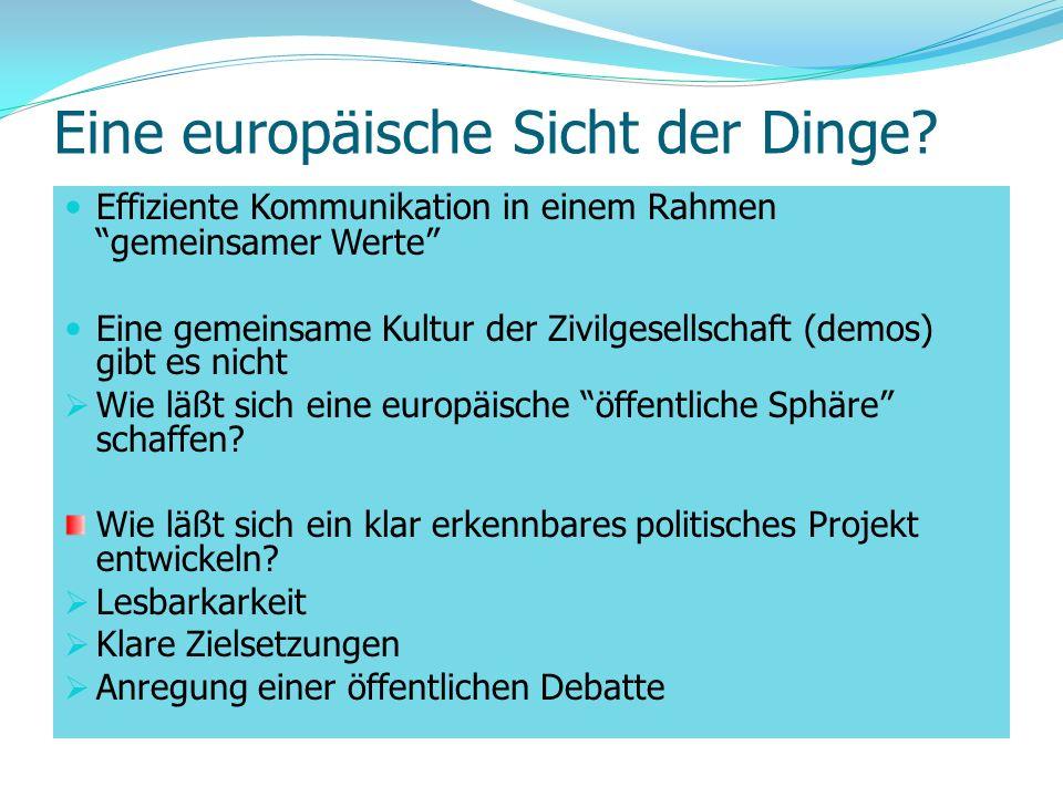 Eine europäische Sicht der Dinge? Effiziente Kommunikation in einem Rahmen gemeinsamer Werte Eine gemeinsame Kultur der Zivilgesellschaft (demos) gibt
