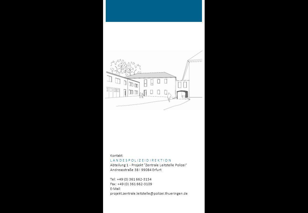 Kontakt: L A N D E S P O L I Z E I D I R E K T I O N Abteilung 1 - Projekt Zentrale Leitstelle Polizei Andreasstraße 38 I 99084 Erfurt Tel: +49 (0) 361 662-3154 Fax: +49 (0) 361 662-3109 E-Mail: projekt.zentrale.leitstelle@polizei.thueringen.de Auf einen Blick Landeseinsatzzentrale (LEZ) Vom Konzept zum Betrieb Bearbeitung aller Notrufe und Alarme der Überfall- und Einbruchmeldeanlagen (ÜEA) - ca.
