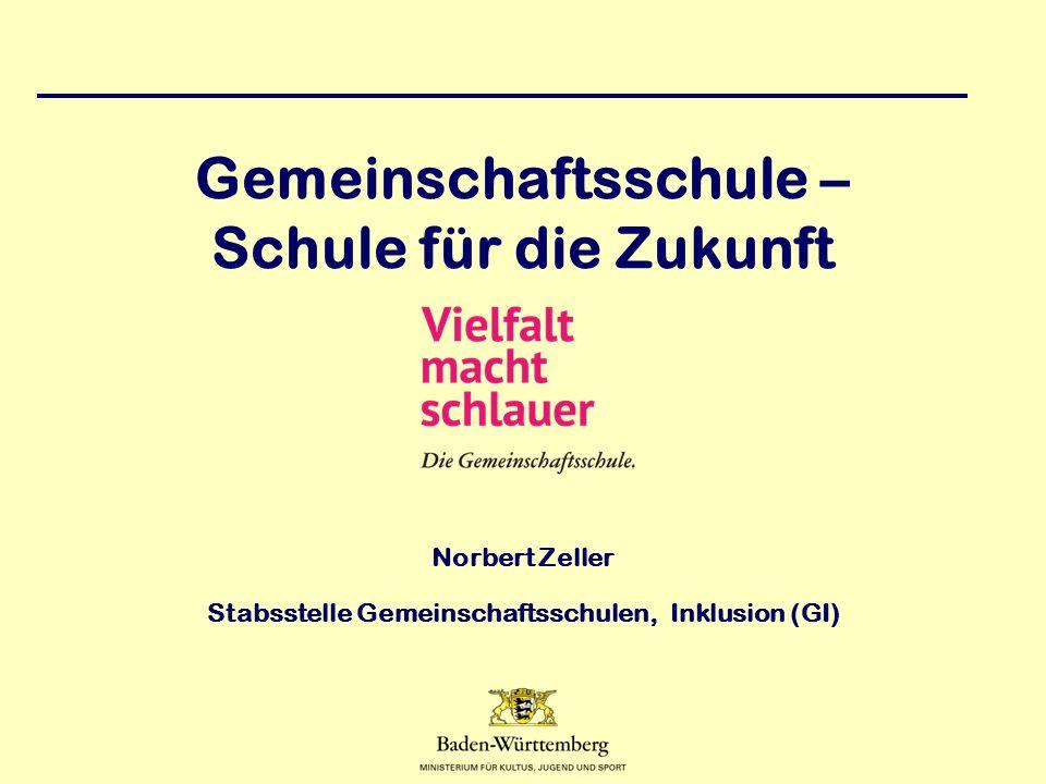 Gemeinschaftsschule – Schule für die Zukunft Norbert Zeller Stabsstelle Gemeinschaftsschulen, Inklusion (GI)