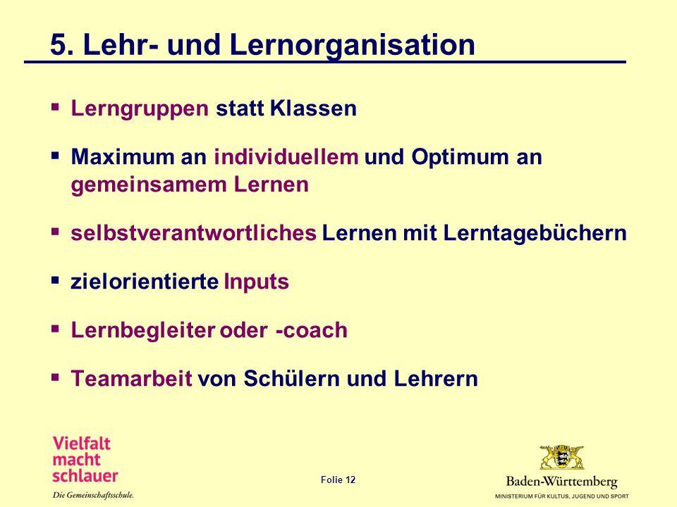 Folie 12 5. Lehr- und Lernorganisation Lerngruppen statt Klassen Maximum an individuellem und Optimum an gemeinsamem Lernen selbstverantwortliches Ler