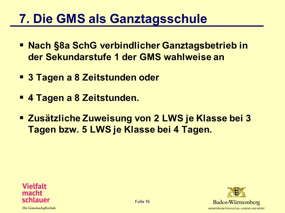 Folie 16 7. Die GMS als Ganztagsschule Nach §8a SchG verbindlicher Ganztagsbetrieb in der Sekundarstufe 1 der GMS wahlweise an 3 Tagen a 8 Zeitstunden