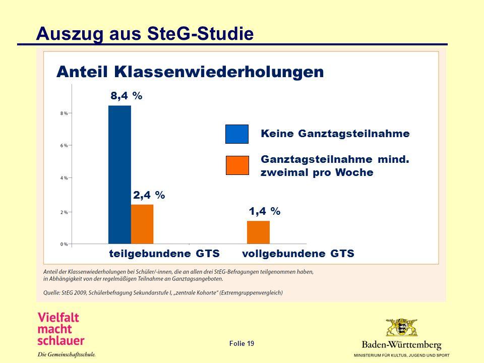 Folie 19 Keine Ganztagsteilnahme Ganztagsteilnahme mind. zweimal pro Woche 8,4 % 2,4 % 1,4 % teilgebundene GTS vollgebundene GTS Auszug aus SteG-Studi