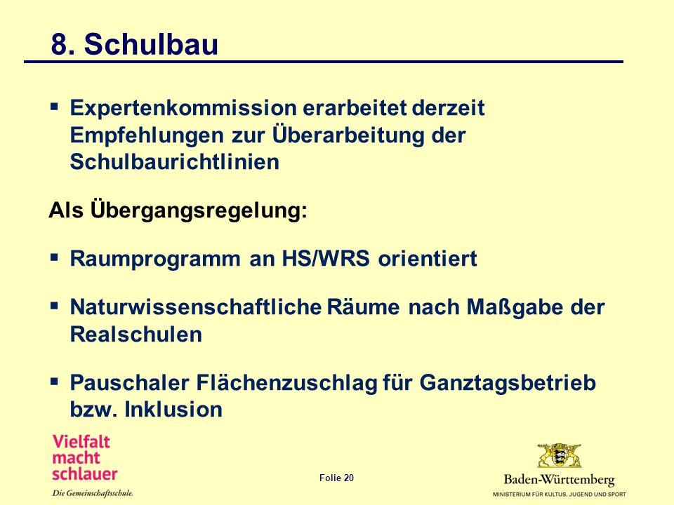 Folie 20 8. Schulbau Expertenkommission erarbeitet derzeit Empfehlungen zur Überarbeitung der Schulbaurichtlinien Als Übergangsregelung: Raumprogramm