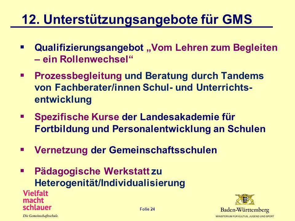Folie 24 12. Unterstützungsangebote für GMS Qualifizierungsangebot Vom Lehren zum Begleiten – ein Rollenwechsel Prozessbegleitung und Beratung durch T