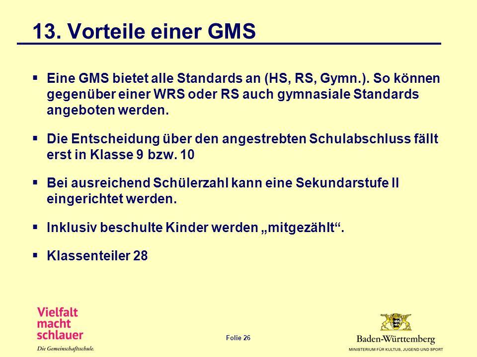 Folie 26 13. Vorteile einer GMS Eine GMS bietet alle Standards an (HS, RS, Gymn.). So können gegenüber einer WRS oder RS auch gymnasiale Standards ang