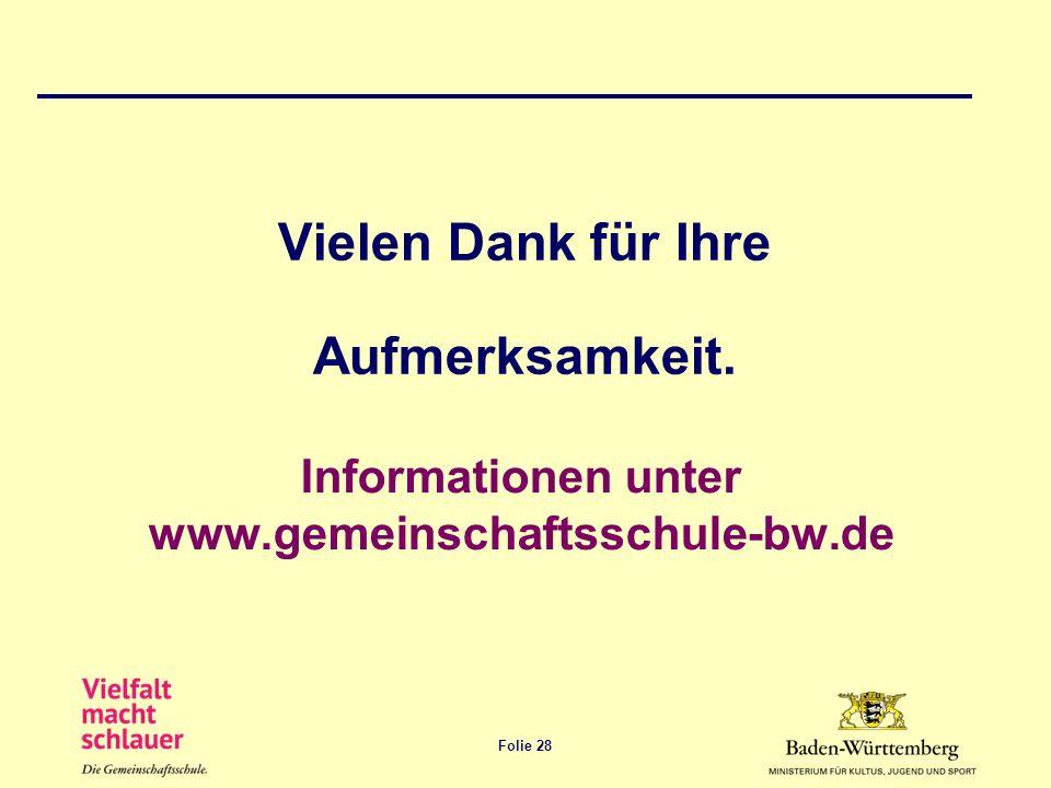 Folie 28 Informationen unter www.gemeinschaftsschule-bw.de Vielen Dank für Ihre Aufmerksamkeit.