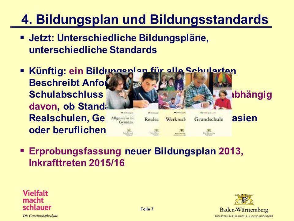 Folie 7 4. Bildungsplan und Bildungsstandards Jetzt: Unterschiedliche Bildungspläne, unterschiedliche Standards Künftig: ein Bildungsplan für alle Sch
