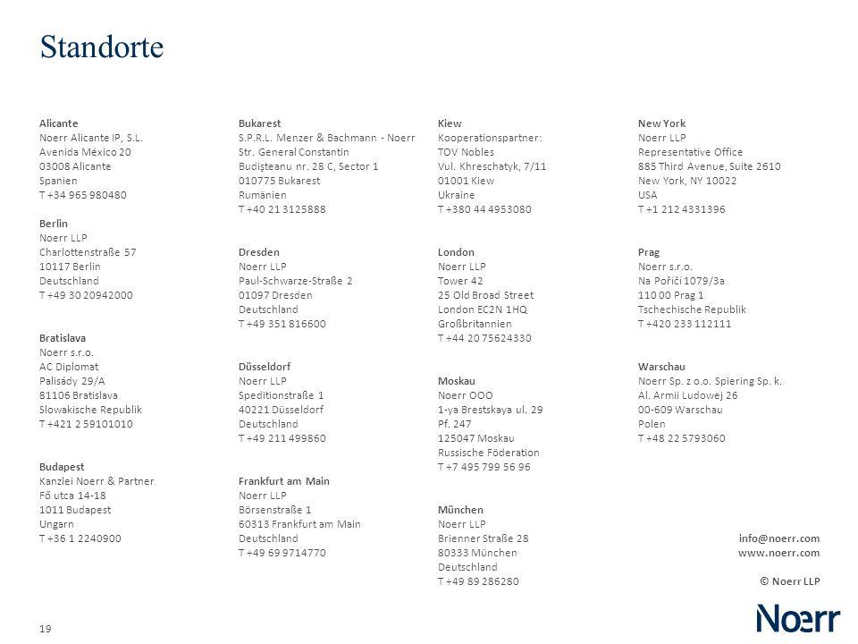 19 Standorte Alicante Noerr Alicante IP, S.L. Avenida México 20 03008 Alicante Spanien T +34 965 980480 Berlin Noerr LLP Charlottenstraße 57 10117 Ber