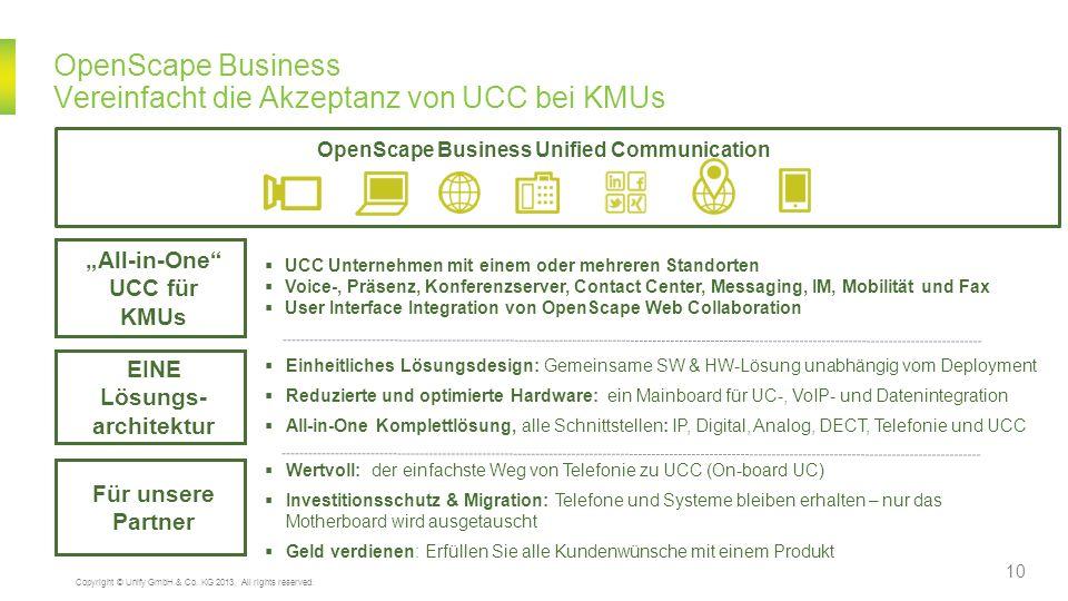 OpenScape Business Vereinfacht die Akzeptanz von UCC bei KMUs Wertvoll: der einfachste Weg von Telefonie zu UCC (On-board UC) Investitionsschutz & Mig