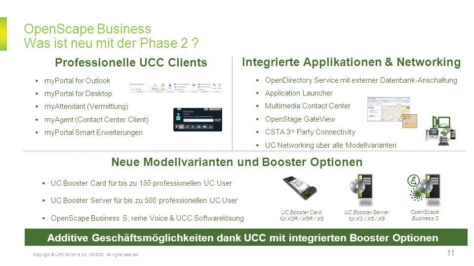 OpenScape Business Was ist neu mit der Phase 2 ? Neue Modellvarianten und Booster Optionen UC Booster Card für bis zu 150 professionellen UC User UC B