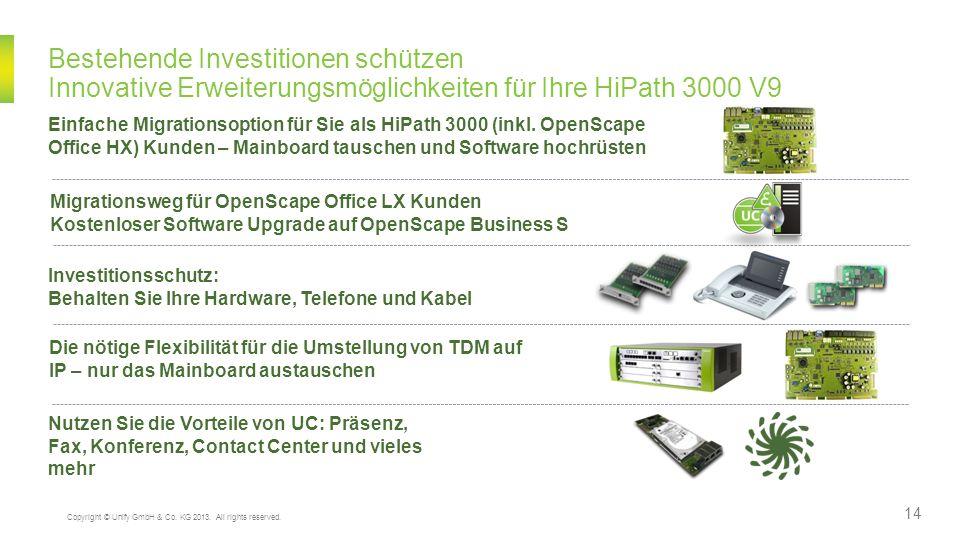 Bestehende Investitionen schützen Innovative Erweiterungsmöglichkeiten für Ihre HiPath 3000 V9 Die nötige Flexibilität für die Umstellung von TDM auf