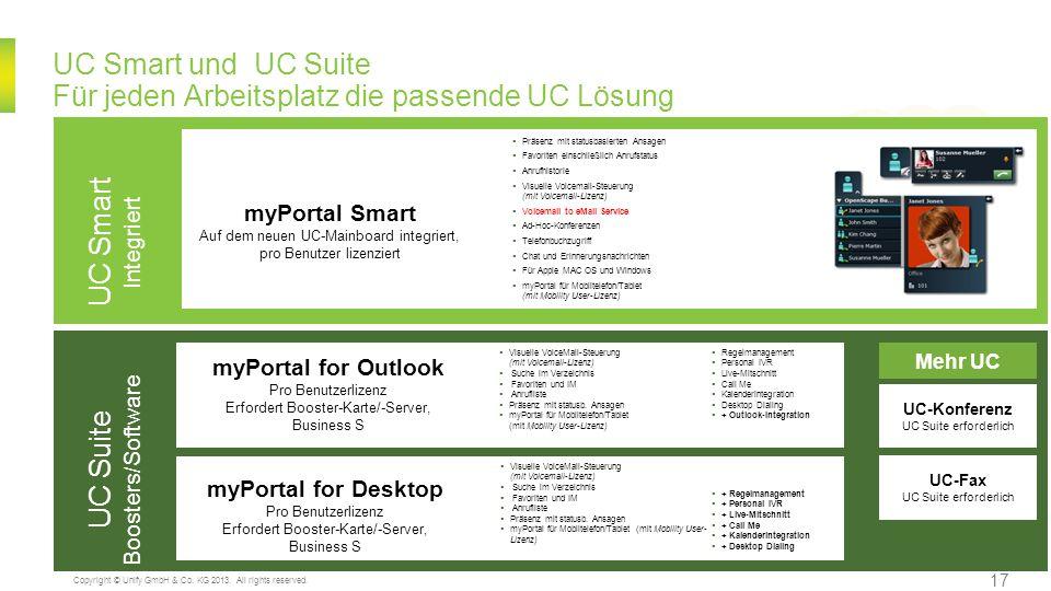 UC Smart und UC Suite Für jeden Arbeitsplatz die passende UC Lösung UC Smart Integriert Präsenz mit statusbasierten Ansagen Favoriten einschließlich A