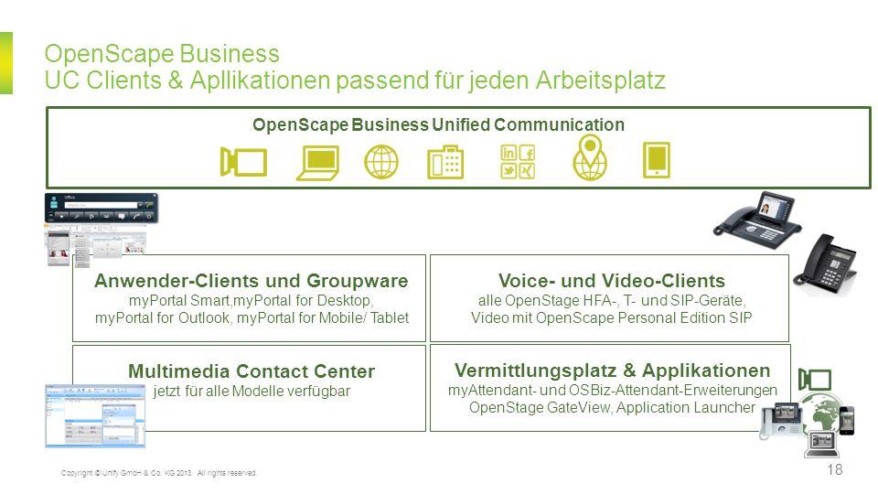 OpenScape Business UC Clients & Apllikationen passend für jeden Arbeitsplatz Multimedia Contact Center jetzt für alle Modelle verfügbar Vermittlungspl