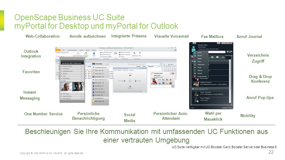 OpenScape Business UC Suite myPortal for Desktop und myPortal for Outlook Drag & Drop Konferenz Anrufe aufzeichnen Integrierte Präsenz Visuelle Voicem