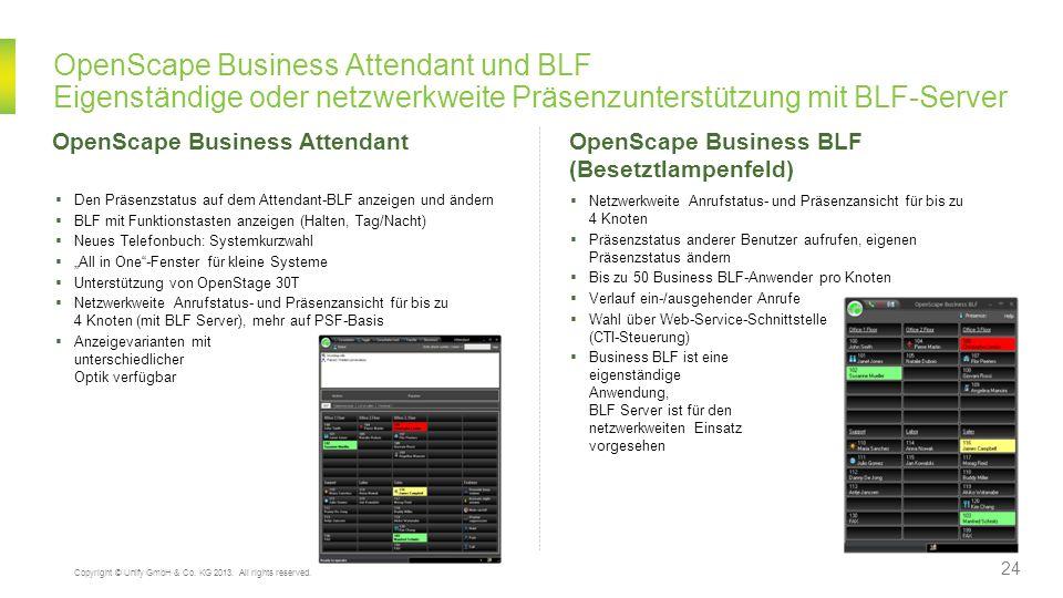 OpenScape Business Attendant und BLF Eigenständige oder netzwerkweite Präsenzunterstützung mit BLF-Server OpenScape Business Attendant Den Präsenzstat
