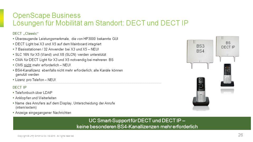 OpenScape Business Lösungen für Mobilität am Standort: DECT und DECT IP UC Smart-Support für DECT und DECT IP – keine besonderen BS4-Kanallizenzen meh