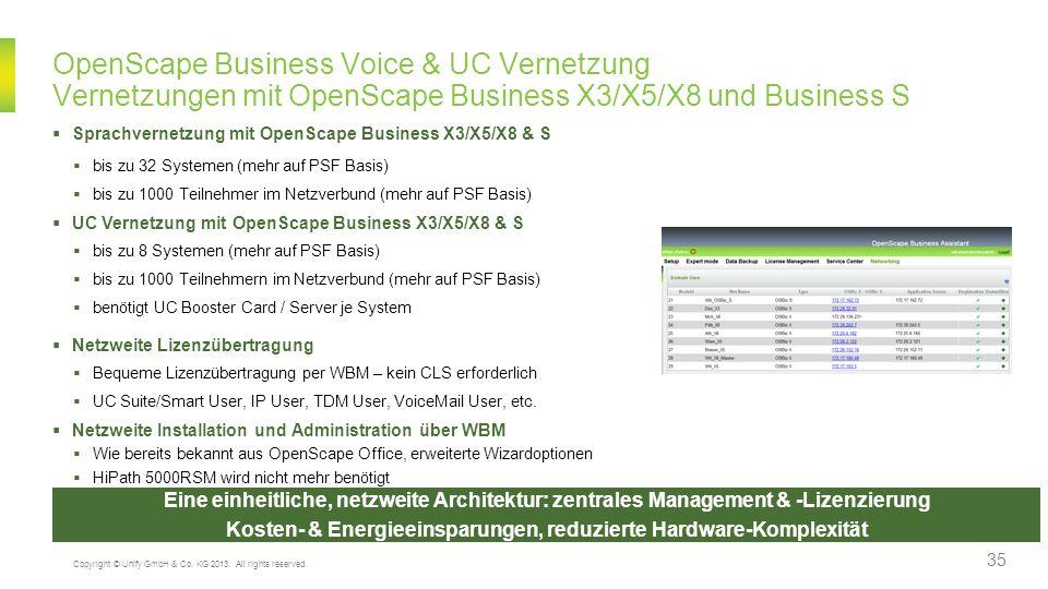 OpenScape Business Voice & UC Vernetzung Vernetzungen mit OpenScape Business X3/X5/X8 und Business S Eine einheitliche, netzweite Architektur: zentral