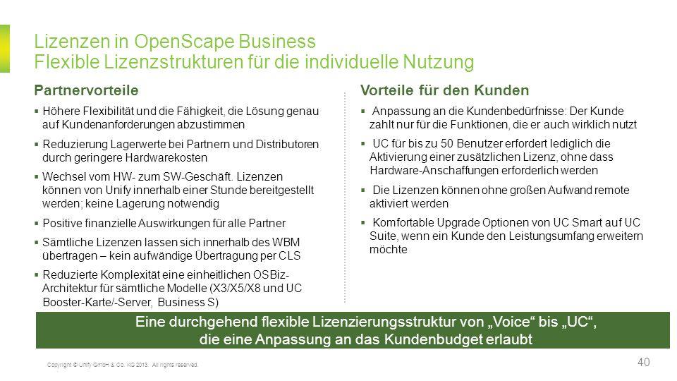 Lizenzen in OpenScape Business Flexible Lizenzstrukturen für die individuelle Nutzung Eine durchgehend flexible Lizenzierungsstruktur von Voice bis UC