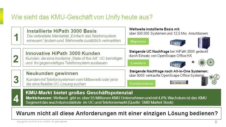 Wie sieht das KMU-Geschäft von Unify heute aus? KMU-Markt bietet großes Geschäftspotenzial Marktchancen: Weltweit gibt es über 55 Millionen KMU Untern
