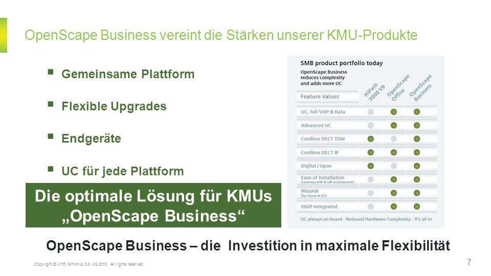 OpenScape Business vereint die Stärken unserer KMU-Produkte OpenScape Business – die Investition in maximale Flexibilität Gemeinsame Plattform Flexibl