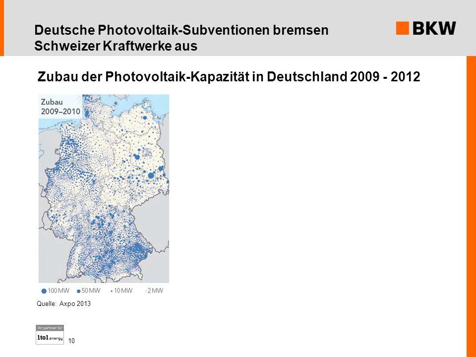 Deutsche Photovoltaik-Subventionen bremsen Schweizer Kraftwerke aus Quelle: Axpo 2013 Zubau der Photovoltaik-Kapazität in Deutschland 2009 - 2012 10