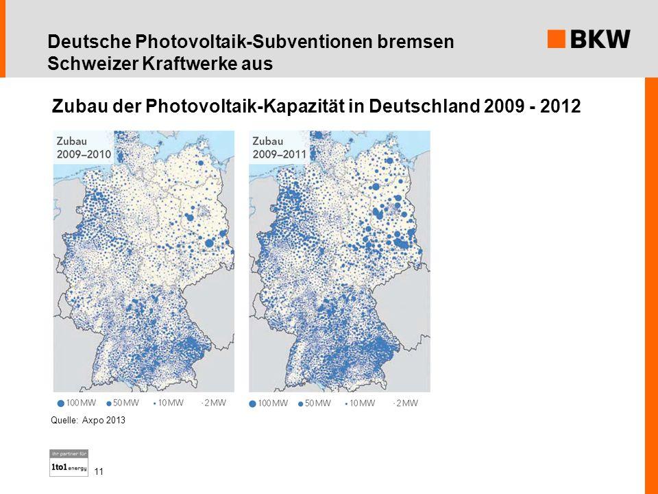 Zubau der Photovoltaik-Kapazität in Deutschland 2009 - 2012 Quelle: Axpo 2013 11 Deutsche Photovoltaik-Subventionen bremsen Schweizer Kraftwerke aus