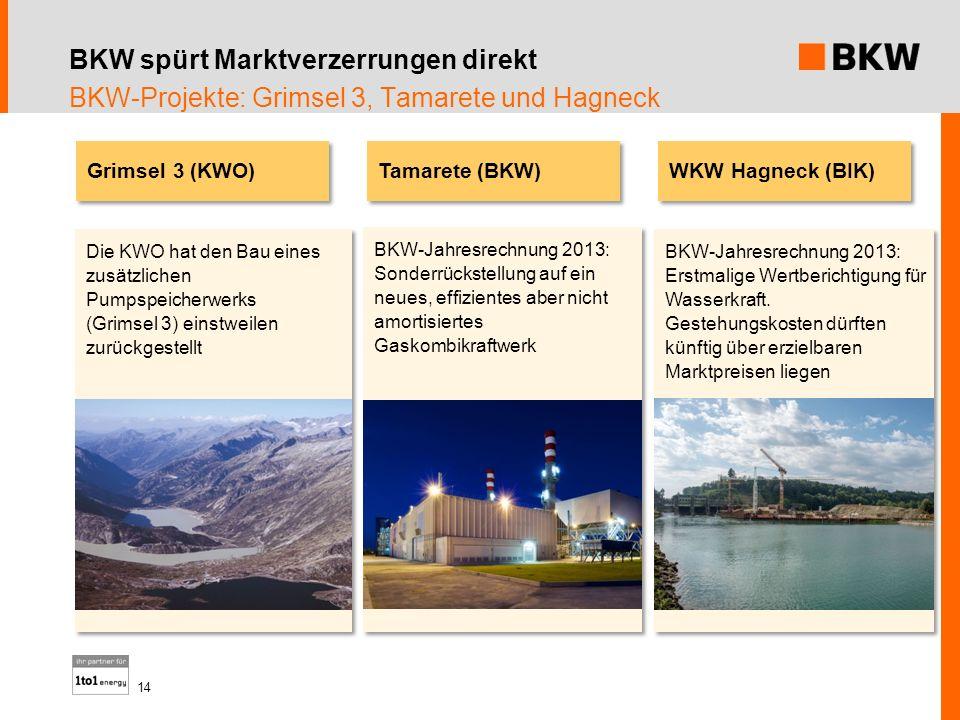 BKW spürt Marktverzerrungen direkt BKW-Projekte: Grimsel 3, Tamarete und Hagneck Tamarete (BKW) Die KWO hat den Bau eines zusätzlichen Pumpspeicherwer