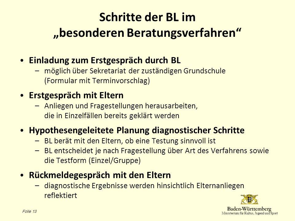 Ministerium für Kultus, Jugend und Sport Schritte der BL im besonderen Beratungsverfahren Einladung zum Erstgespräch durch BL –möglich über Sekretaria