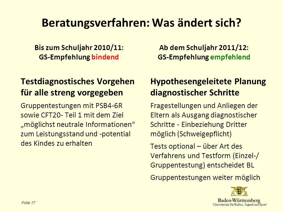 Ministerium für Kultus, Jugend und Sport Beratungsverfahren: Was ändert sich? Bis zum Schuljahr 2010/11: GS-Empfehlung bindend Testdiagnostisches Vorg