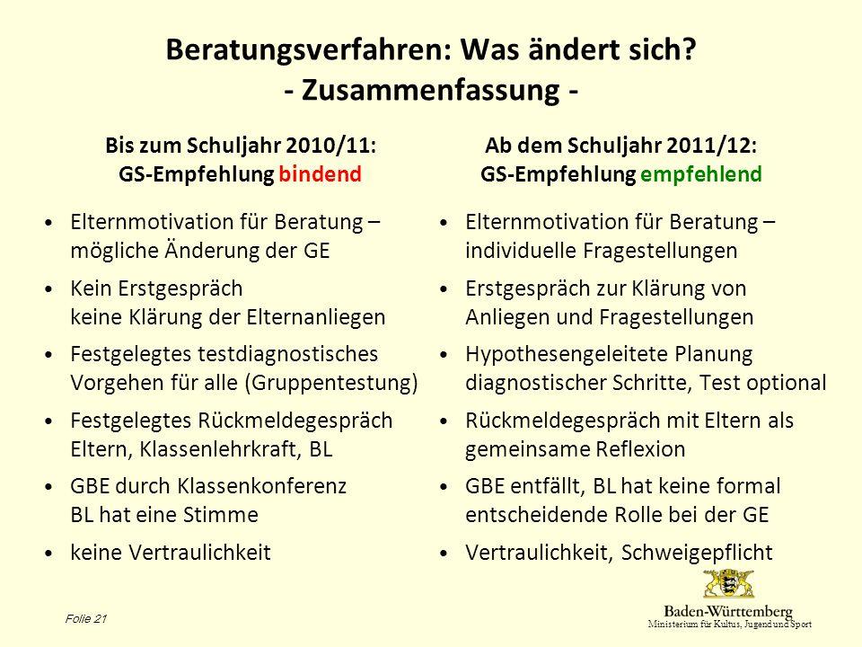 Ministerium für Kultus, Jugend und Sport Beratungsverfahren: Was ändert sich? - Zusammenfassung - Bis zum Schuljahr 2010/11: GS-Empfehlung bindend Elt