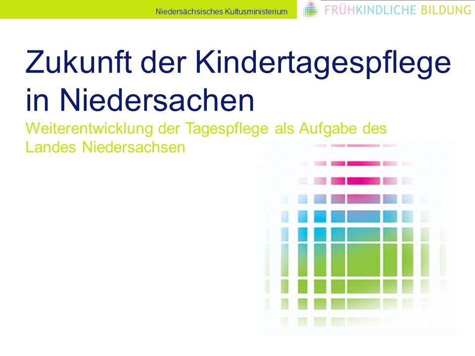 Niedersächsisches Kultusministerium Zukunft der Kindertagespflege in Niedersachen Weiterentwicklung der Tagespflege als Aufgabe des Landes Niedersachsen