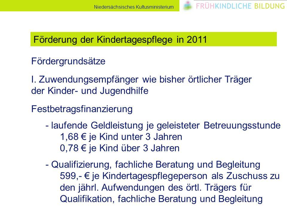 Niedersächsisches Kultusministerium Fördergrundsätze I. Zuwendungsempfänger wie bisher örtlicher Träger der Kinder- und Jugendhilfe Festbetragsfinanzi