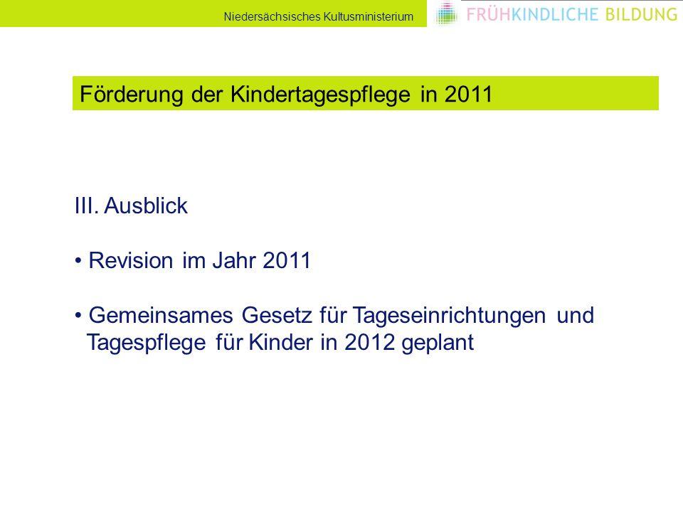 Niedersächsisches Kultusministerium III. Ausblick Revision im Jahr 2011 Gemeinsames Gesetz für Tageseinrichtungen und Tagespflege für Kinder in 2012 g