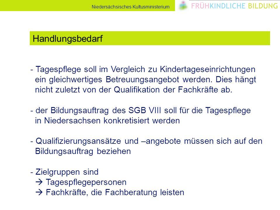 Niedersächsisches Kultusministerium - Tagespflege soll im Vergleich zu Kindertageseinrichtungen ein gleichwertiges Betreuungsangebot werden.