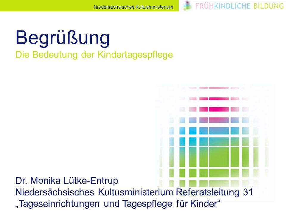 Niedersächsisches Kultusministerium Begrüßung Die Bedeutung der Kindertagespflege Dr. Monika Lütke-Entrup Niedersächsisches Kultusministerium Referats
