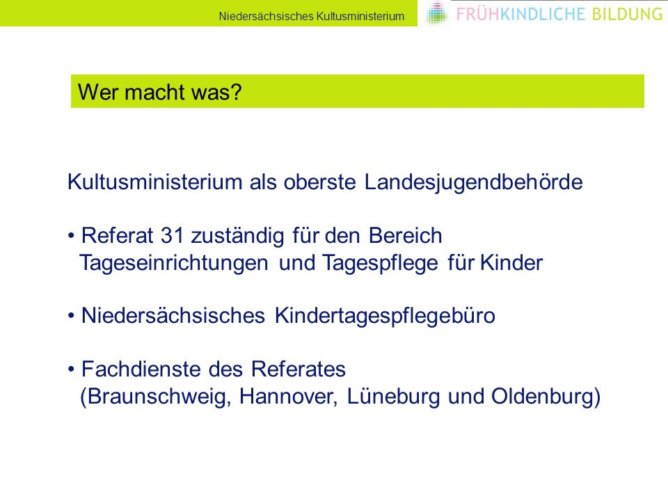 Niedersächsisches Kultusministerium Kultusministerium als oberste Landesjugendbehörde Referat 31 zuständig für den Bereich Tageseinrichtungen und Tage