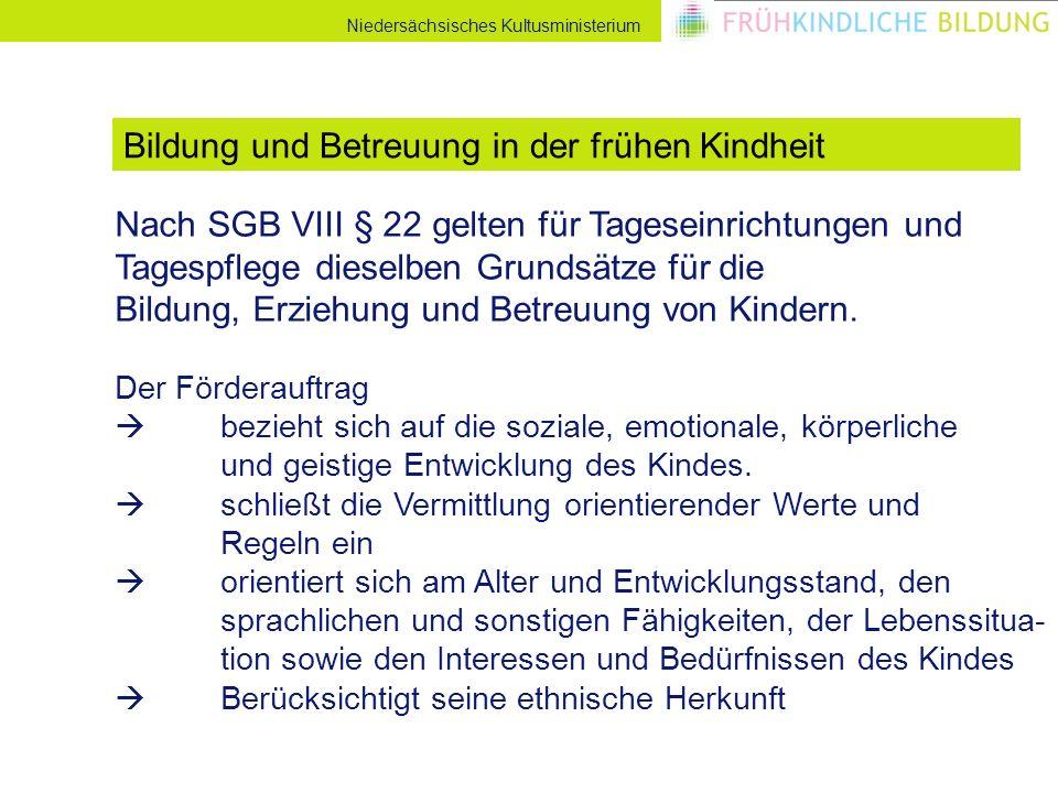 Niedersächsisches Kultusministerium Nach SGB VIII § 22 gelten für Tageseinrichtungen und Tagespflege dieselben Grundsätze für die Bildung, Erziehung und Betreuung von Kindern.
