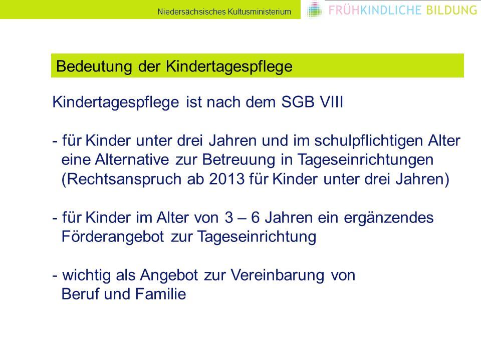 Niedersächsisches Kultusministerium Kindertagespflege ist nach dem SGB VIII - für Kinder unter drei Jahren und im schulpflichtigen Alter eine Alternat