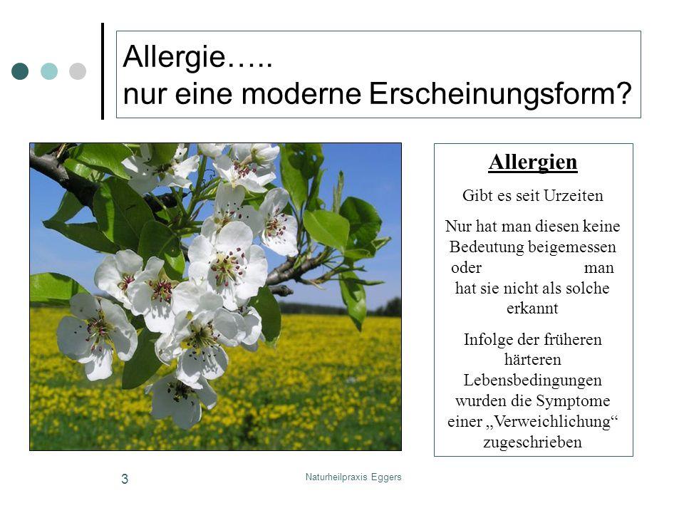 Naturheilpraxis Eggers 3 Allergie….. nur eine moderne Erscheinungsform? Allergien Gibt es seit Urzeiten Nur hat man diesen keine Bedeutung beigemessen