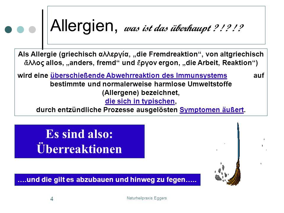 Naturheilpraxis Eggers 5 Wesen der Allergie (1) Allergische Reaktionen (tatsächliche oder gefühlte) erzeugen je nach Empfindlichkeit einen sehr nachhaltigen Leidensdruck der deutliche Verluste der Lebensqualität nach sich zieht Allergien und Hypersensitivität können sich äußern: an den Schleimhäuten (allergische Rhinitis (Heuschnupfen), Mundschleimhautschwellungen, Conjunktivitis (Bindehautentzündung)) an den Atemwegen (Asthma bronchiale) an der Haut (atopische Dermatitis (Neurodermitis), Kontaktekzem, Urtikaria) im Gastrointestinaltrakt (Erbrechen, Durchfälle, besonders bei Säuglingen und Kleinkindern) als akuter Notfall (anaphylaktischer Schock)
