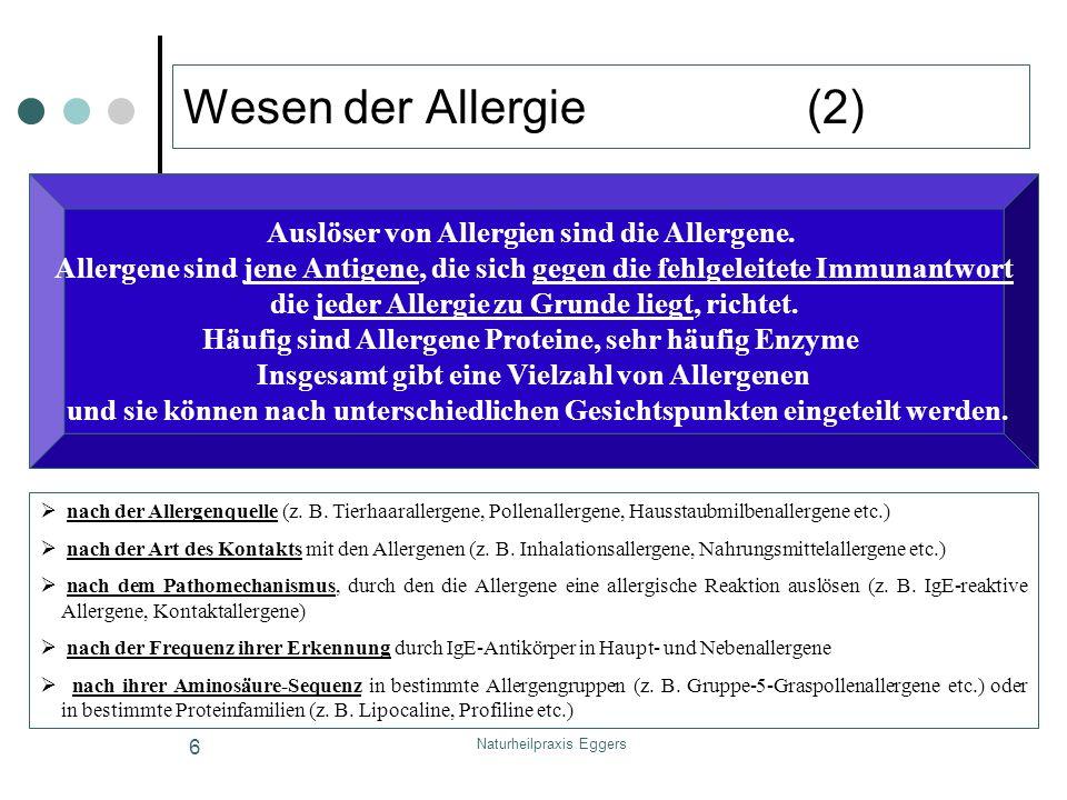 Naturheilpraxis Eggers 6 Wesen der Allergie (2) nach der Allergenquelle (z. B. Tierhaarallergene, Pollenallergene, Hausstaubmilbenallergene etc.) nach
