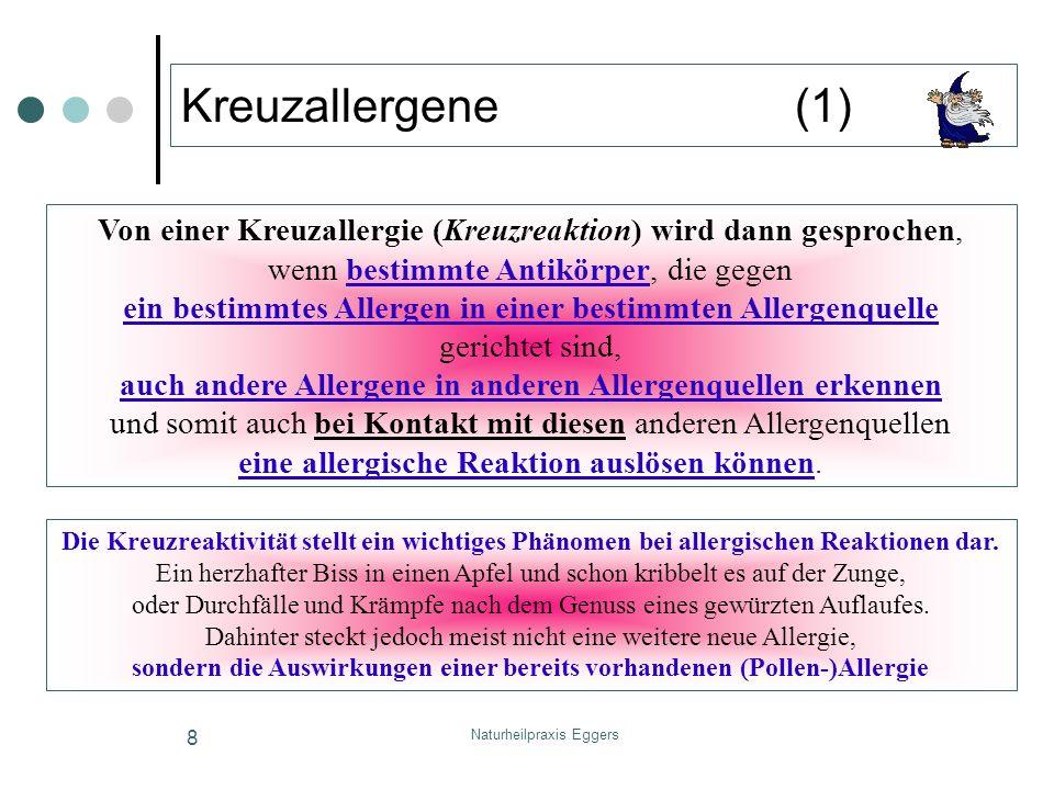 Naturheilpraxis Eggers 9 Kreuzallergene (2) primäre Allergie aufmögliche Kreuzallergien / Nahrunsmittelallergien BirkeHasel / Erle / Buche (Frühblüher) Frischobst wie Kernobst und Steinobst: Äpfel, Birnen, Pfirsiche, Aprikosen, Kirschen, Mandeln, Sellerie, Karotten, Nüsse (v.a.